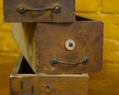 Vintage Wooden Drawer.  Stencil Front.  Industrial. Attractive Pulls. Great Finish.