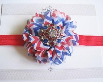 July 4th Chiffon Headband, Baby Headbands, Baby Bows, Baby Girl Headbands, Infant Bows, Infant Headbands, Newborn Headbands