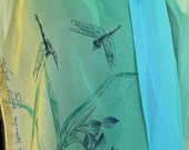 Spring Irises and Dragonflies:  Personalized Ombre Silk Scarf.  OOAK