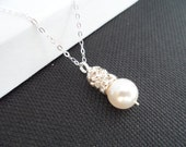 White Pearl and Rhinestone Bridal Necklace - Bridesmaid Gifts, Flower Girl Gifts, Maid of Honor Gifts, Birthday Gifts