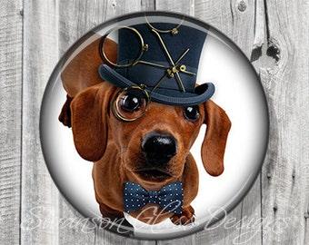 Puppy Pocket Mirror | Steampunk Dachshund Puppy Dog Photo Mirror | Compact Mirror | Illustration Image | Gift under 5 | Party Favor A69