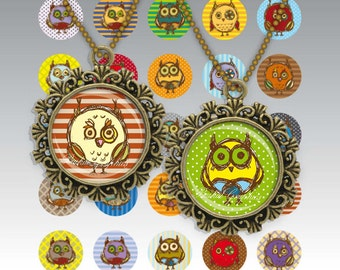 Cartoon Cute Little Owls Digital Collage Sheet 1inch Circles Bottle cap images glass tiles resin pendants cabochon button JPG 174