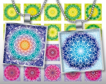 Kaleidoscope Snowflake multicolor mixed patterns Digital Collage Sheet square 1x1 inch. Printable images for pendants cabochon button 228