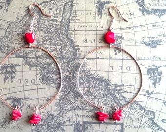 Coral and Copper Dangling Hoop Earrings