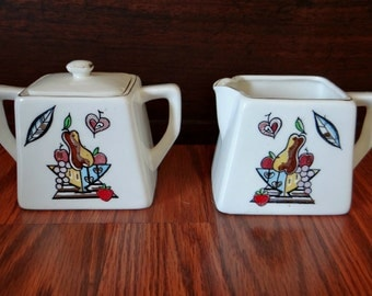 Mid Century sugar and creamer set, Georges Briard style, 1950s