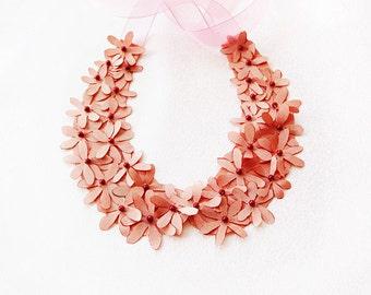 Pink Flowers Collar, Peach,  Wedding  Flower Collar Necklace, Blush, Wedding Collar Necklace,  Wedding Accesories, Bridesmaid , Flower Girl
