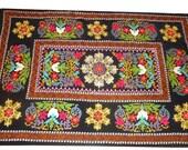 Black Velvet Embroidered Uzbek Colorful Suzani (81.5'' x 54.3'')
