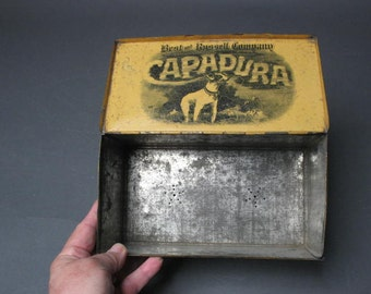 Very RARE dated 1891 Best and Russell Company Capadura Cigar Box Tin -- holes for humidor