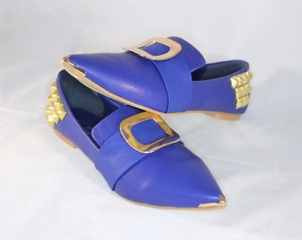 Blue Buckle Pointy Toe Flats