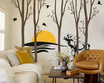 "Trees and Deer Wall Decal - Sunset Wall Decal - Wall Sticker - Tree Decals - Large: approx 95"" x 116"" - KC007"