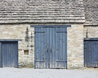 3 Blue Doors in a Stone Barn - Color Photograph