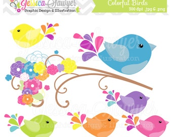 INSTANT DOWNLOAD,  bird clip art - bird clipart - graphic - image - digital element - scrapbooking - commercial use - colorful