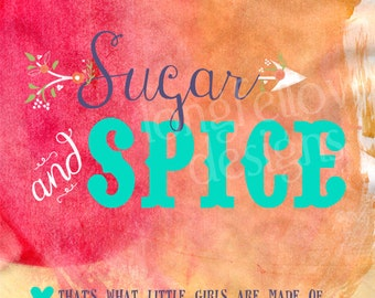 Sugar and Spice - That's What Little Girls Are Made Of - 12 x 12 Print