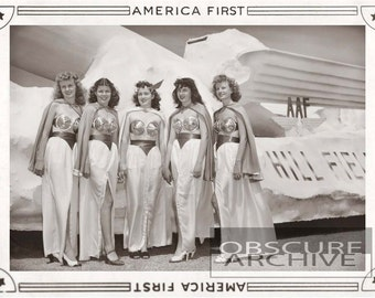 AMERICA FIRST - Well Dressed Beauties at Hill Air Base 1950's - Great Space Age Costumes - Vintage Photo