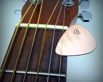 Hand Stamped Copper Guitar Pick - Personalized - Men - Women - Unisex