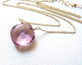 Pink Amethyst Necklace Cushion Cut Gemstone Gold Filled Pastel Jewelry