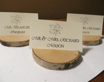 Short White Birch Place Card Holders