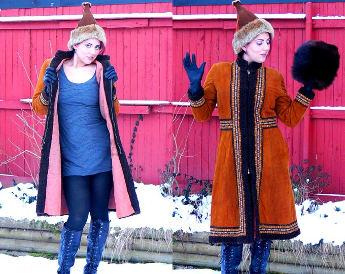 Lambskin Suede Gypsy Coat MEDIUM 1960s Vintage Hippie Coat Velvety Rust Brown Folk Embroidery Faux Persian Trim Bohemian Lined Winter Coat