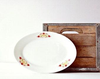 Vintage Red Floral Platter  - Gold Crest, Russet Leaves, Oxblood Flowers, Red and White Kitchen Decor, Restaurantware