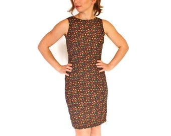 Vintage Sheath Dress by Coco Bianco. 1960s Cotton Floral Garden Party Dress. Black Red Yellow. Mad Men Fashion.