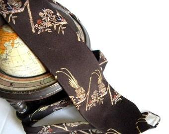Vintage Men Necktie Designed by Hardy Amies Late 60s Early 70s Wide Necktie Mad Men Fashion. Brown Gold birds. Boyfriend gift