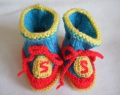 Hand knitted Super Hero bootees for newborn baby slipper sock,to fit approx. 0-3 months Baby shower gift Newborn gift