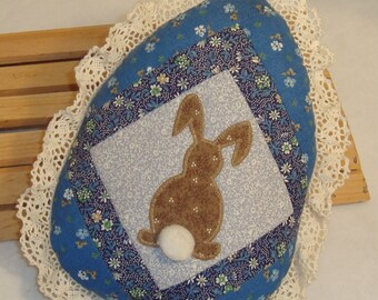 Small Patchwork Egg-Shaped Pillow with Machine-Appliqued Bunny