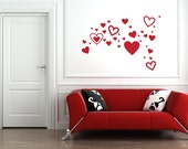 Set of 35 Hearts Removable Vinyl Wall Art FREE SHIPPING, valentines day love heart collage do it yourself wall stickers peel and stick
