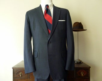 Vintage J. Press PRESSTIGE Solid Blue 2 Button Trad / Ivy League Suit 44 L. Made in USA.
