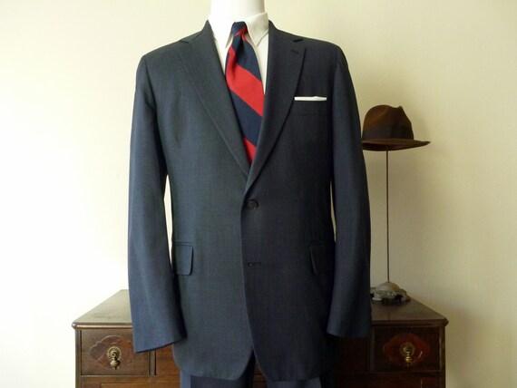 Vintage J. Press PRESSTIGE Solid Blue 2 Button Trad / Ivy League Suit 44 L. Made in USA.