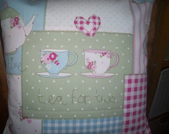 Hand made cushion cover made in fryetts tea time pink with chequers pink on back
