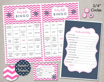 INSTANT DOWNLOAD Baby Shower Games - Hot Pink & Navy
