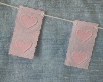 Hearts A-Flutter Pastel Pink Double Hearts Pennant/Banner