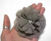 Handmade brooch,Grey, glittery, elegant flower or hair piece, organza-like fabric, upcycling