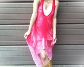 Shredded Bleached Red Dress