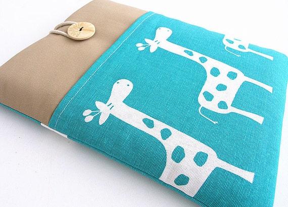 iPad case, Ipad cover, Ipad sleeve with pocket, Padded ,Ipad 1, Ipad 2, Ipad 3, Ipad 4-  Giraffe