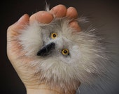OWL Brooch, white recycled natural fur, felted merino wool, glass eyes.