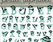 Pirate Alphabet Clip Art Set  -Personal and Limited Commercial Use- cute monogram set with letters and numbers - Instant Download