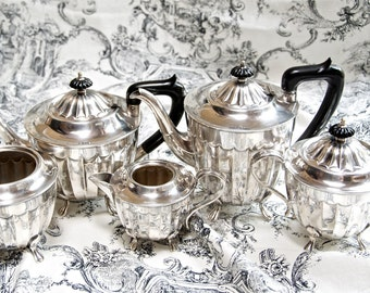 Vintage English tea and coffee service...Sheffield England...silver on copper...Buckingshire...Art Deco...Federal style.