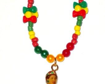 Rastafari Necklace with Her Majesty Empress Menen of Ethiopia Pendant