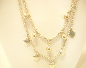 Silver tone Hearts and Balls Chain Necklace (3962)