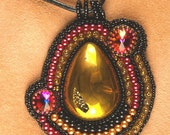 Druzy  Bead Embroidered pendant with leather rope
