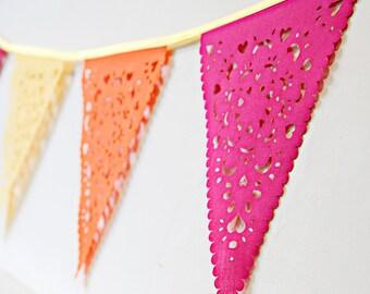hot pink yellow and orange bunting, gorgeous bright garland, perfect birthday decor