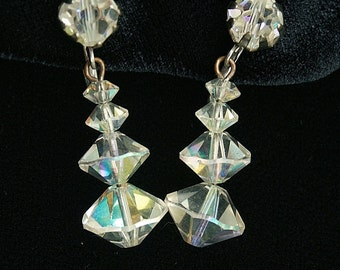 Crystal Dangle Earrings Wedding Special Occasion Sparkle Vintage