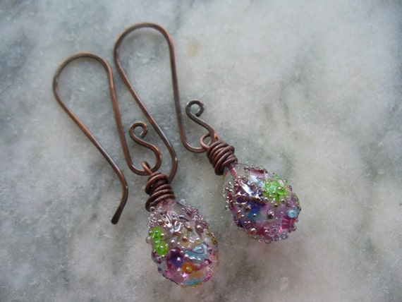 Wildflower Teardrop Sparkle Lampwork Earrings - Mothers Day
