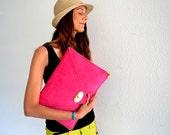 Pink - fuchsia leather clutch / Handmade leather bag / Large clutch / Pink- Fuchsia suede leather
