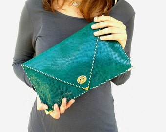 Emerald green patent leather clutch / Handmade leather bag / Feels like snake