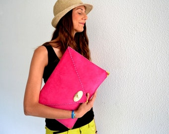 Pink - fuchsia leather clutch / Handmade leather bag / Large clutch / Pink- Fuchsia suede leather