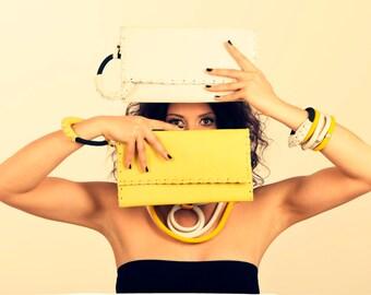 Yellow Bracelet Clutch - Leather Evening Envelope Purse or Bag