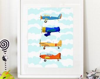 "Vintage Airplanes Kids Print - Home Decor Nursery Poster 13x19"" A3plus"